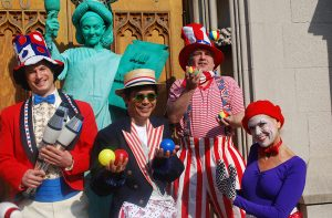 Circus Performers, Mimes, Jugglers, Stilt walkers, Lady Liberty